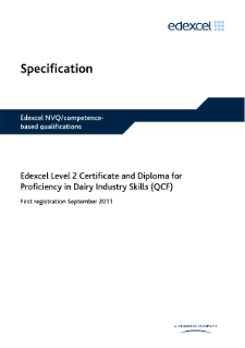 Competence-based qualification for Proficiency in Dairy Industry Skills (L2) specification