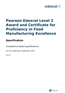 Competence-based qualifications in Food Manufacturing Excellence (L2) specification