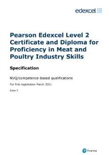 Competence-based qualification for Proficiency in Meat and Poultry Industry Skills (L2) specification