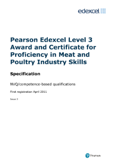 Competence-based qualification or Proficiency in Meat and Poultry Industry Skills (L3) specification