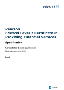 Competence-based qualification in Providing Financial Services (L2) specification