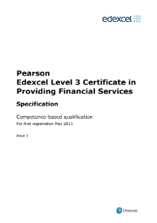 Competence-based qualification in Providing Financial Services (L3) specification