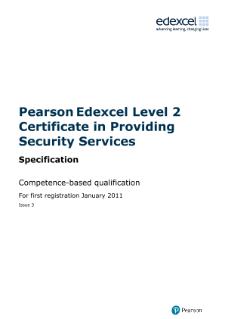 Pearson Edexcel Level 2 Certificate in Providing Security Services (QCF)