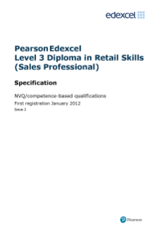 Competence-based qualification in retail Skills (Sales Professional) (L3) specification