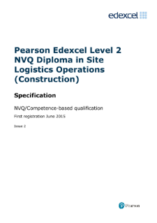 Specification - Level 2,Edexcel NVQ Competence-based qualification/s 2014