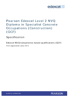 Edexcel Level 2 NVQ Diploma in Specialist Concrete Occupations (Construction) specification