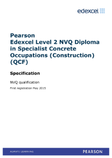 Pearson Edexcel Level 2 NVQ Certificate in Specialist Concrete Occupations – Background Preparation and Profiling (Construction) specification