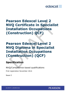 Edexcel Level 2 NVQ Certificate in Specialist Installation Occupations (Construction) (QCF) specification