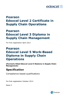 Pearson Edexcel Level 5 Work-based Diploma in Supply Chain Operations (QCF)