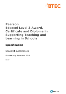 Edexcel Level 3 Supporting Teaching and Learning in Schools specification