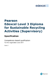 Edexcel Level 3 Diploma for Sustainable Recycling Activities (Supervisory) specification