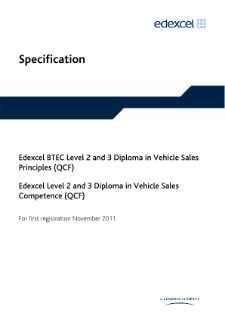 BTEC Level 3 Diploma in Vehicle Sales Principles specification