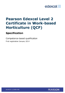 Competence-based qualification in Work-based Horticulture (L2) specification