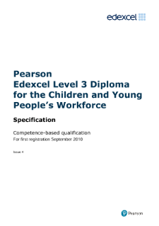 Competence-based qualification Diploma for the Children and Young People's Workforce (L3) specification