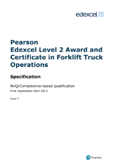 Pearson Edexcel Level 2 Award in Forklift Truck Operations (QCF) specification