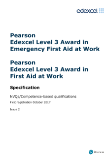 Pearson Edexcel Level 3 Award in Emergency First Aid at Work