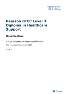 BTEC Level 3 Diploma in Healthcare Support specification
