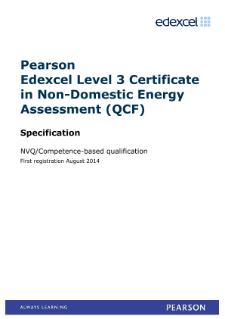 Pearson Edexcel Level 3 Certificate in Non-Domestic Energy Assessment (QCF)