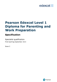 Edexcel Diploma in Parenting and Work Preparation
