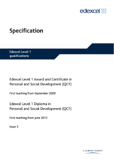 Edexcel Award in Personal and Social Development