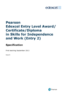 Edexcel Award in Skills for Independence and Work
