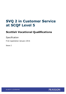 SVQ 2 in Customer Service at SCQF Level 5 specification