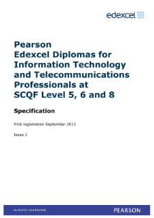 Edexcel Level 6 Diploma in Information Technology and Telecommunications Professionals (Scotland) specification (L6)