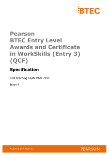 BTEC Entry Level Award in WorkSkills (Entry 3) specification