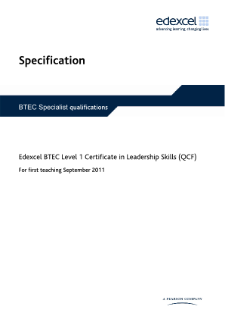 BTEC Level 1 Certificate in Leadership Skills specification