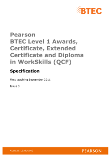 BTEC Level 1 Award in WorkSkills specification