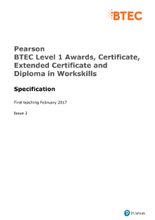 BTEC Level 1 30-GLH Award in Workskills specification