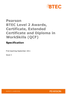 BTEC Level 2 Award in WorkSkills specification