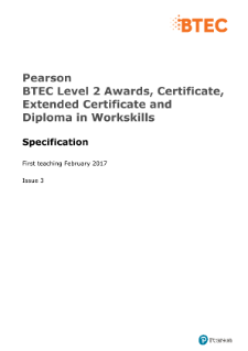 BTEC WorkSkills Level 2 70 GLH Award specification