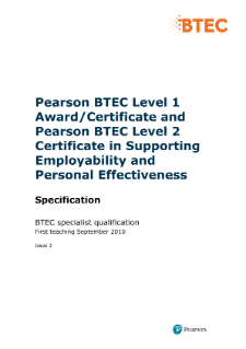 BTEC Level 1 Award in Supporting Employability and Personal Effectiveness specification