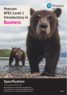 Specification - Pearson BTEC Level 1 Introductory in Business