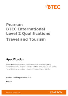 BTEC International Level 2 Travel and Tourism specification