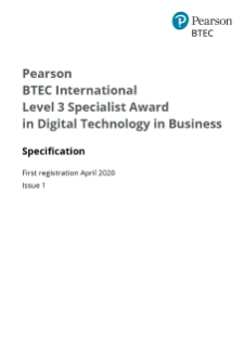 Digital Technology in Business specification