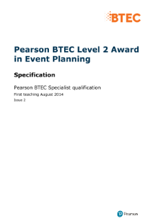 BTEC Level 2 Award in Event Planning specification