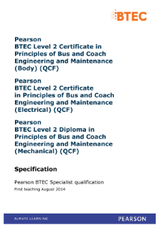 BTEC Level 2 Certificate in Principles of Bus and Coach Engineering and Maintenance (Mechanical) specification