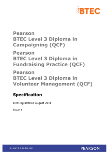 BTEC Level 3 Diploma in Volunteer Management specification