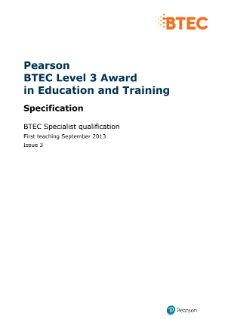 BTEC Level 3 Award in Education and Training specification