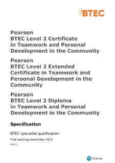 BTEC Level 2 Certificate in Teamwork and Personal Development in the Community specification