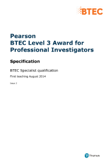 BTEC Level 3 Award for Professional Investigators specification