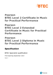 BTEC Level 2 Music for Practical Performance specification