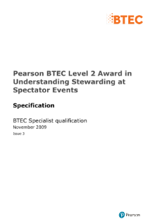 BTEC Level 2 Award in Understanding Stewarding at Spectator Events specification