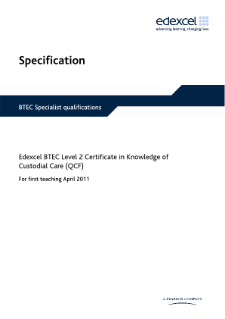BTEC Level 2 Certificate in Knowledge of Custodial Care specification