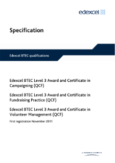 BTEC Level 3 Award in Volunteer Management specification