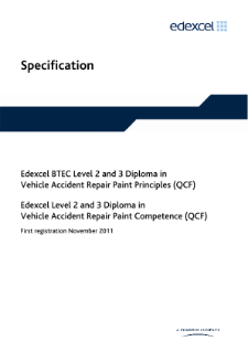 BTEC Level 3 Diploma in Vehicle Accident Repair Paint Principles specification