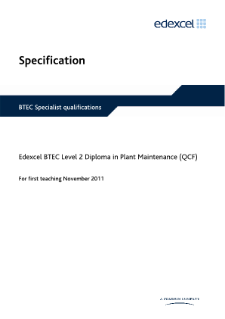 BTEC Level 2 Diploma in Plant Maintenance specification