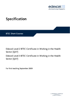 BTEC Level 3 Certificate in Working in the Health Sector specification